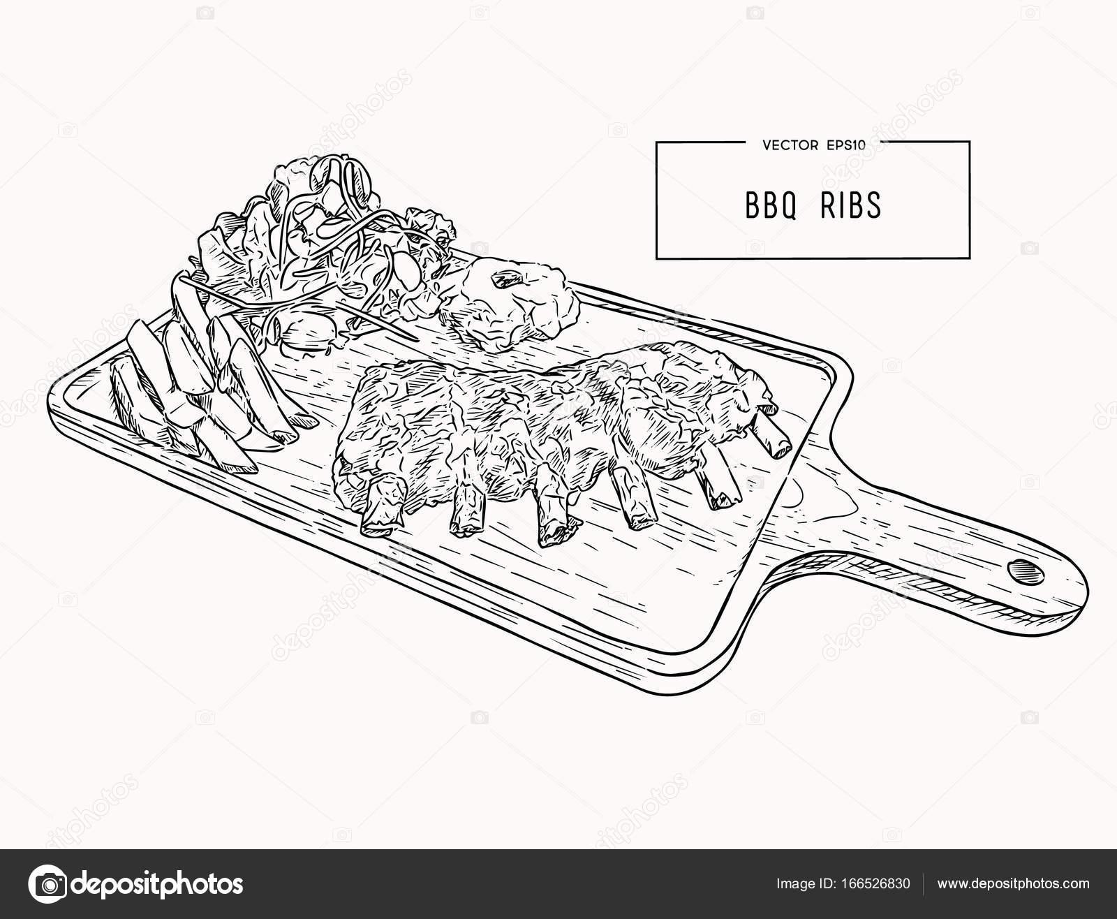 depositphotos_166526830 stock illustration illustration of grilled spare ribs illustration of grilled spare ribs stock vector © kirpmun