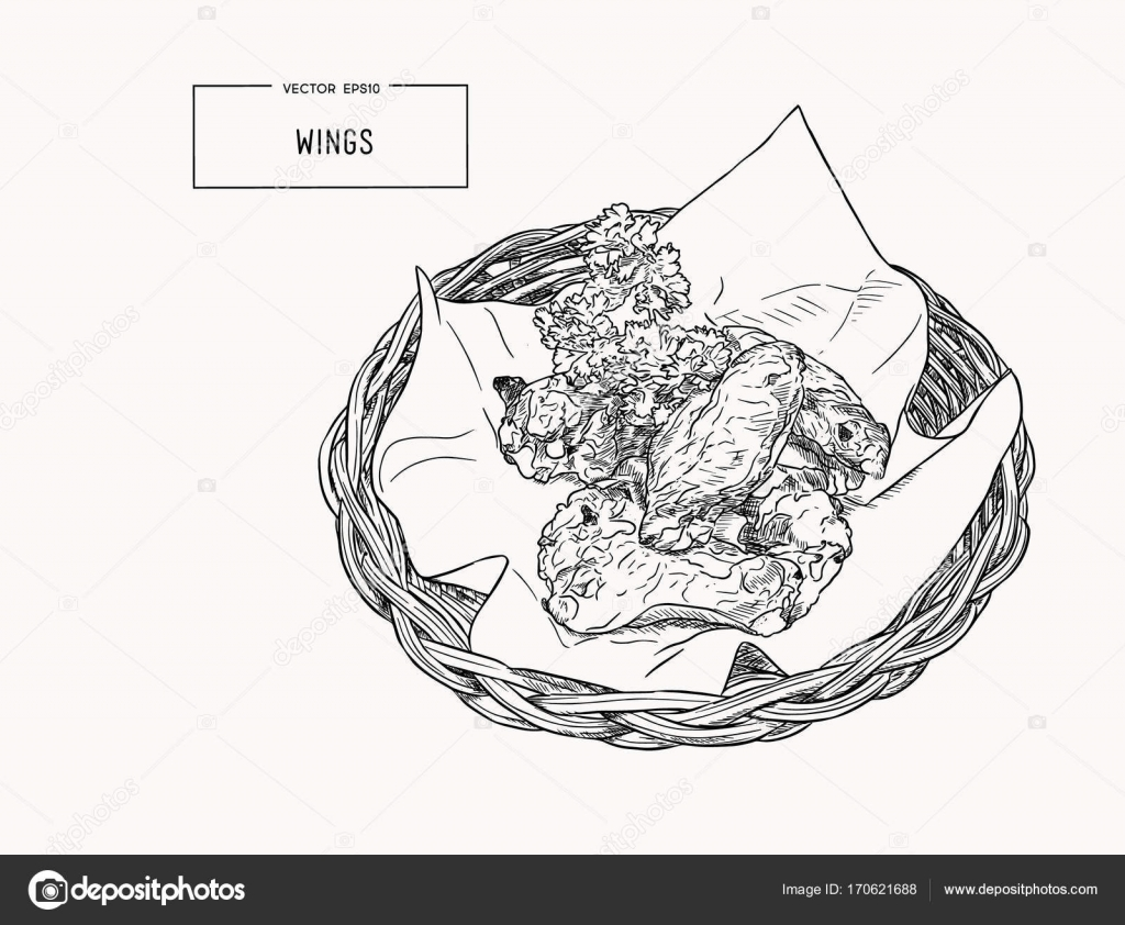Hand Drawn Sketch Buffalo Chicken Wings In Basket Stock Vector Detailed Wing Diagram Of A