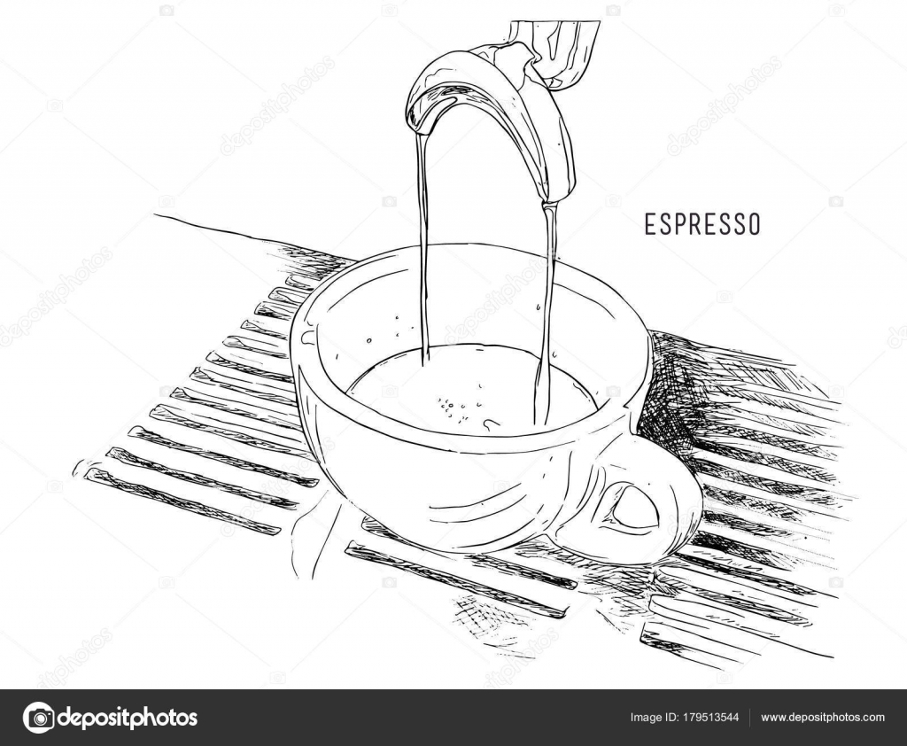 Espresso Double Shot Coffee Machine Stock Vector Kirpmun Diagram Brewing Hand Drawn Sketch Line Art By Kirpmunhotmailcom