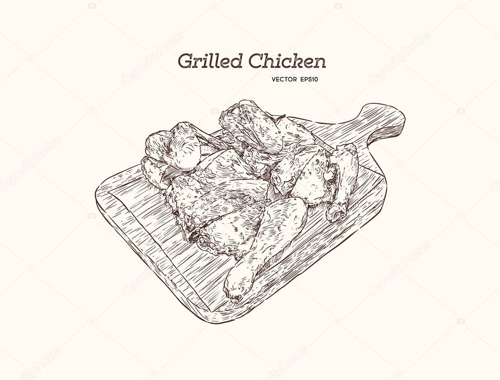 Icons Website Search Over 28444869 Icon Chicken Cuts Diagram Grilled On Wood Tray Hand Draw Sketch Vector