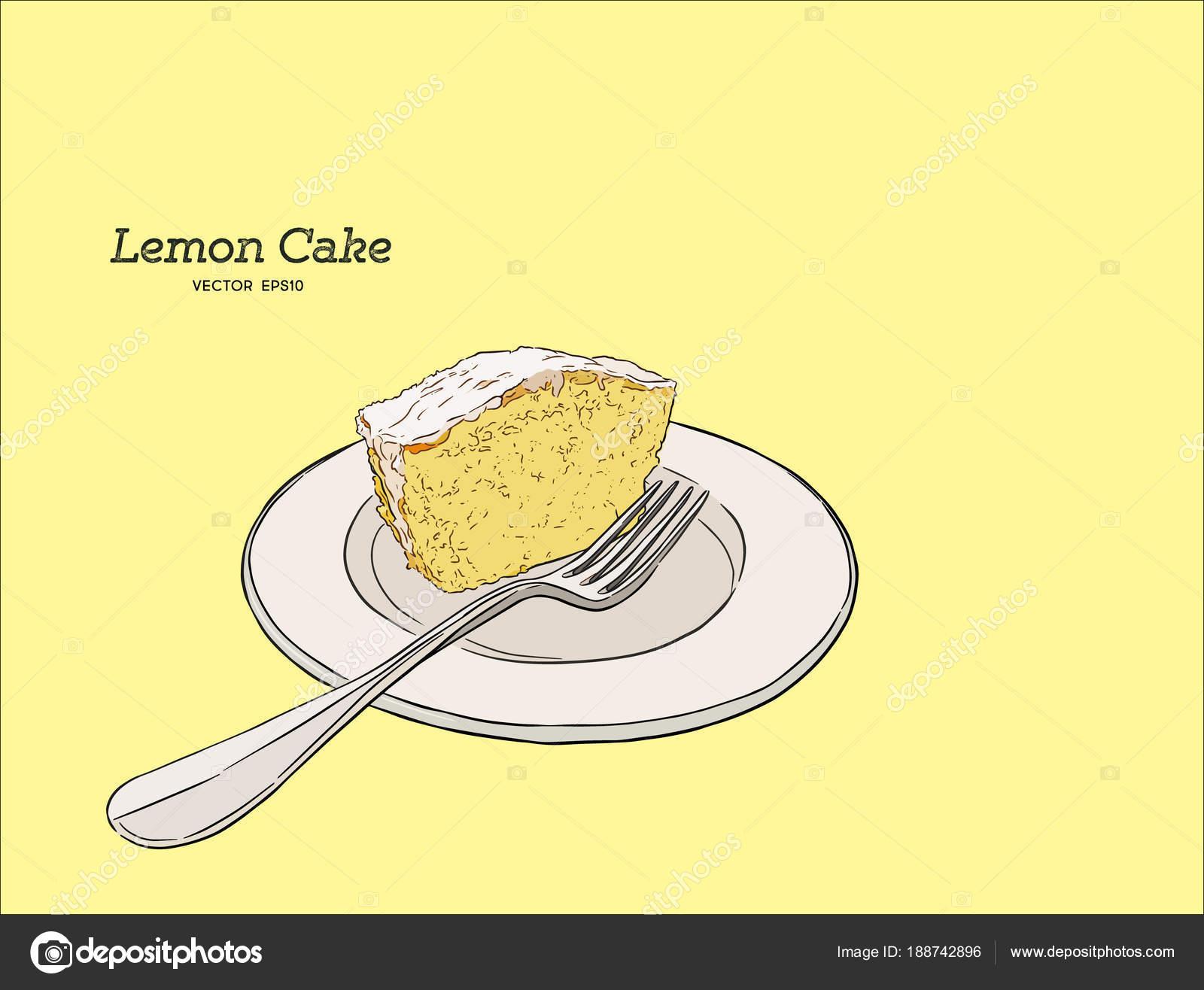 Hausgemachte Zitronenkuchen Mit Mohn Und Zuckerglasur Hand Zeichnen