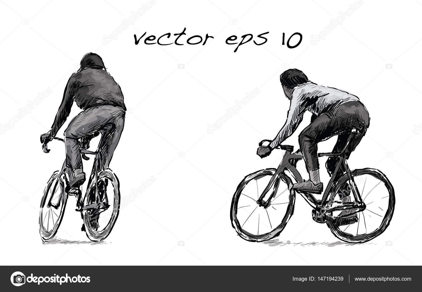 desenho de ciclista andando fixa engrenagem da bicicleta na rua