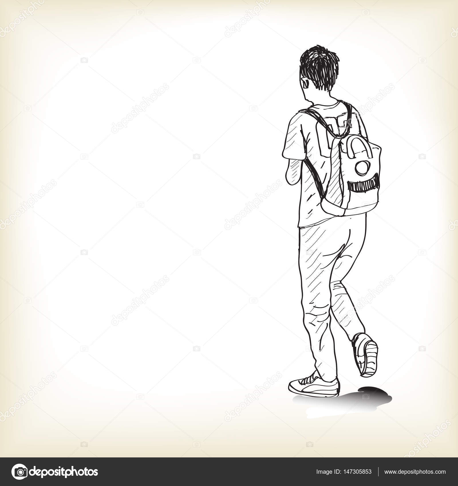 Sketch a boy walking with backpack to school free hand draw stock vector
