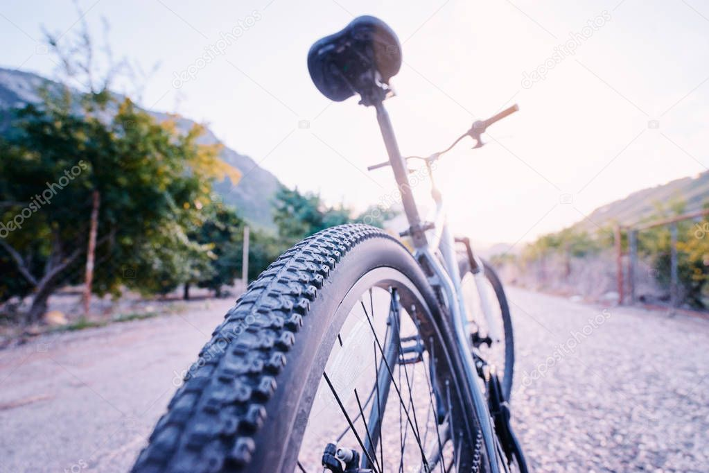 Mountain bicycle on road