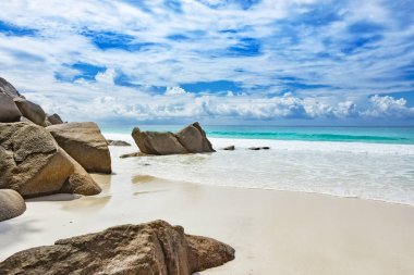 Untouched natural tropical beach Seychelles