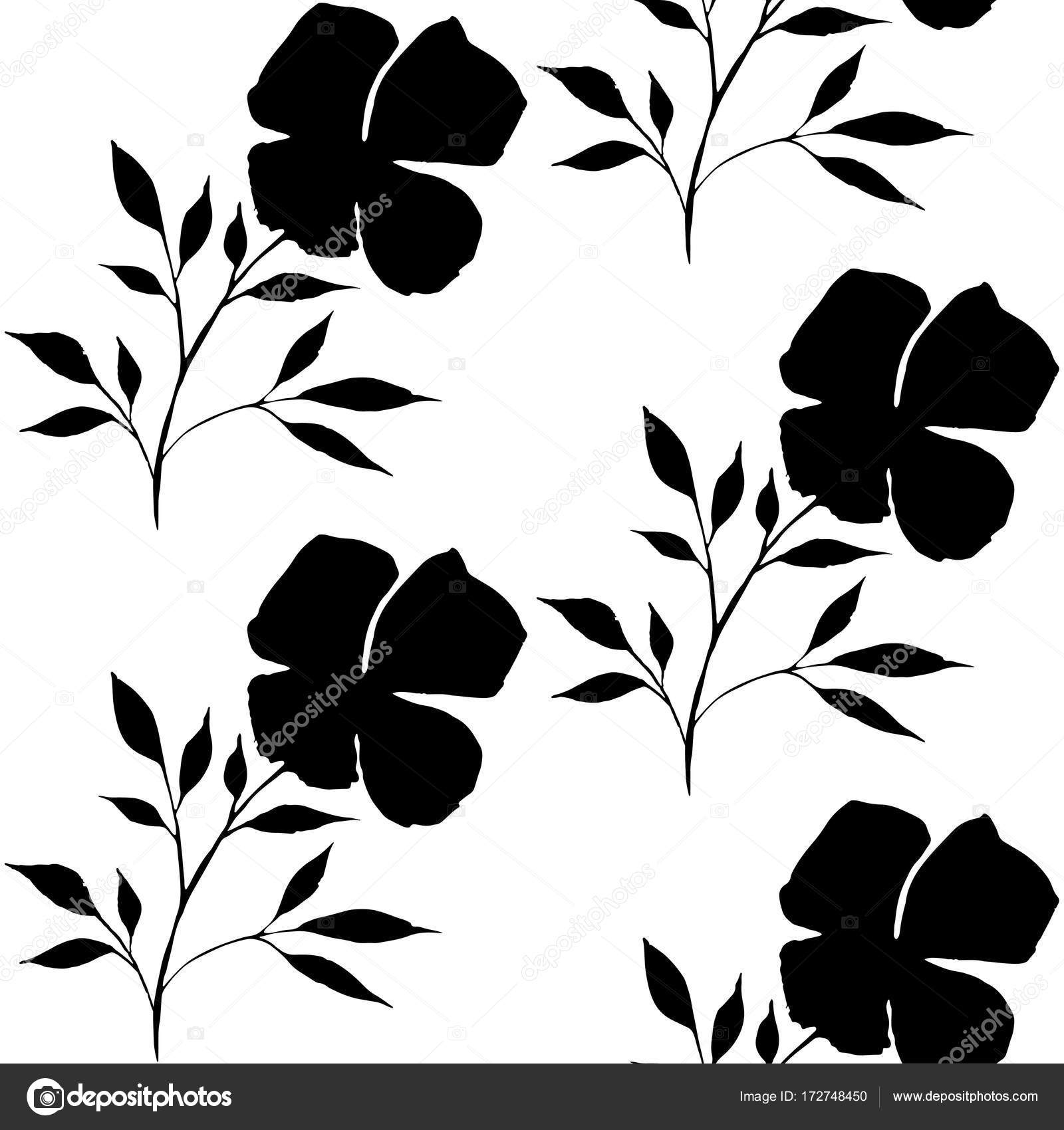 Vintage Seamless Watercolor Flower Pattern Black White Vector Background Banner Stock