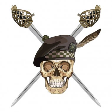 Two crossed Scottish Highland backsword and the skull in the Scottish balmoral bonnet