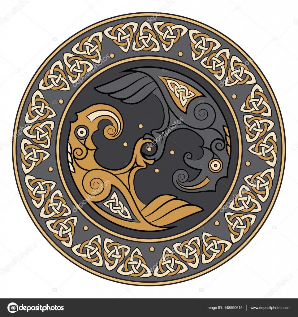 Viking Schild Versierd Met Een Scandinavische Patroon En Ravens Van