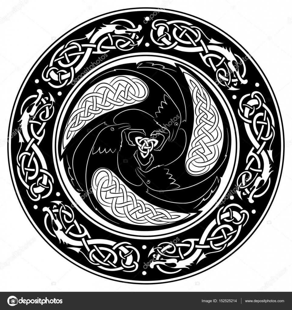 Escudo vikingo, decorado con un patrón escandinavo y los cuervos del ...