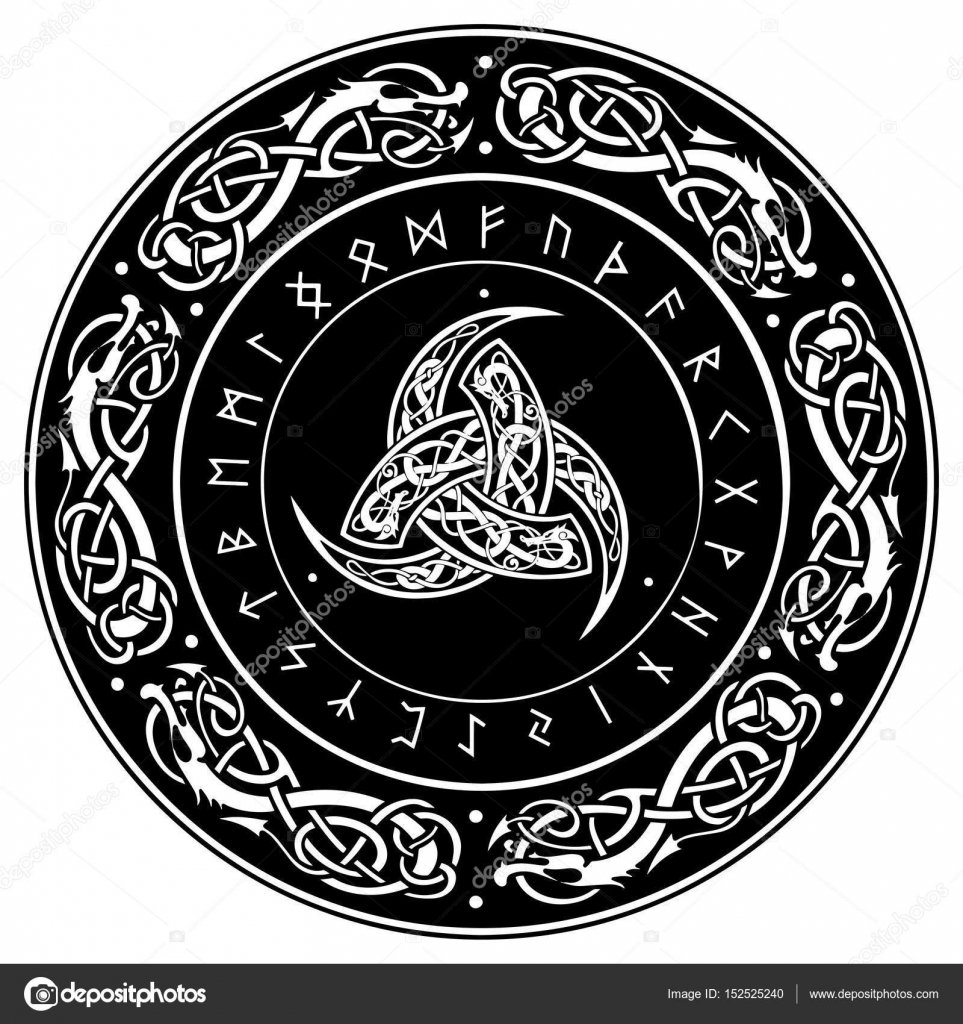 Triple horn of odin decorated with scandinavian ornaments and triple horn of odin decorated with scandinavian ornaments and runes stock vector buycottarizona