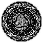 Fotografie Trojitá Odin Horn zdobené skandinávské ornamenty a runy