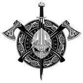 Viking helma, překročili viking osy a v věnec skandinávského vzoru a viking štítem