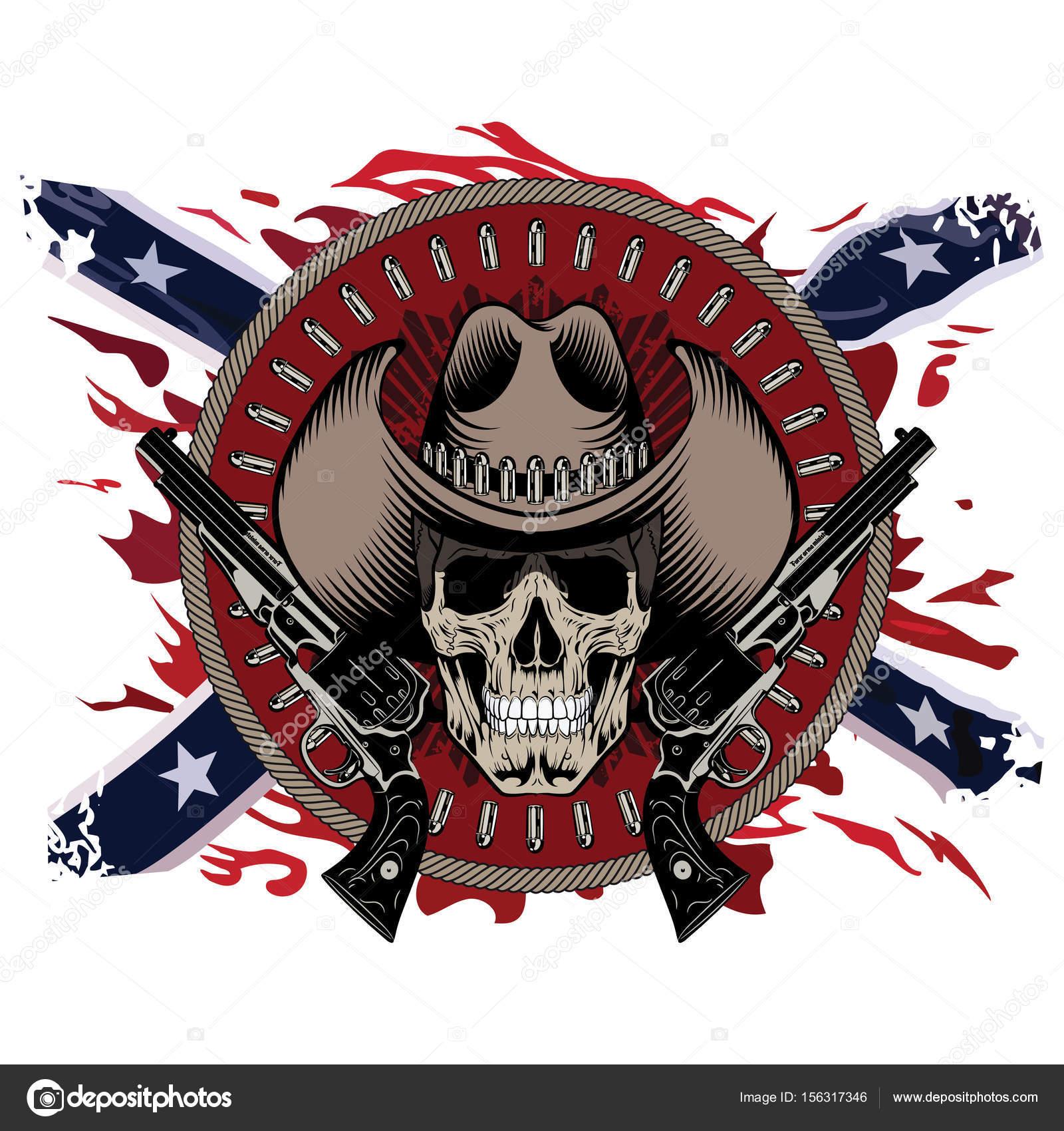 Design Gunfighter. Skull in cowboy hat 2e987817673