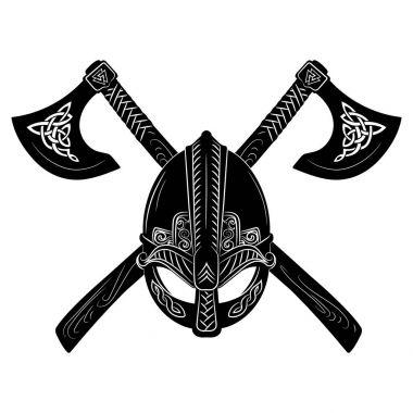 Viking helmet, crossed viking axes and Scandinavian pattern