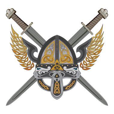 Viking winged helmet with two crossed swords and Scandinavian pattern