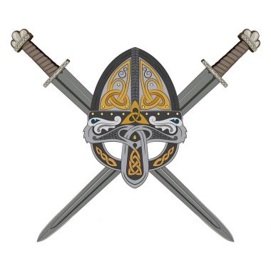 Viking helmet with two crossed swords and Scandinavian pattern