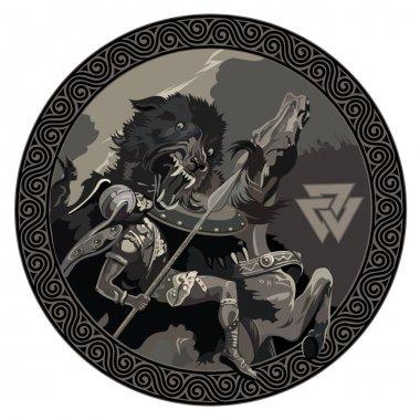 Battle of the God Odin with the wolf Fenrir. Illustration of Norse mythology