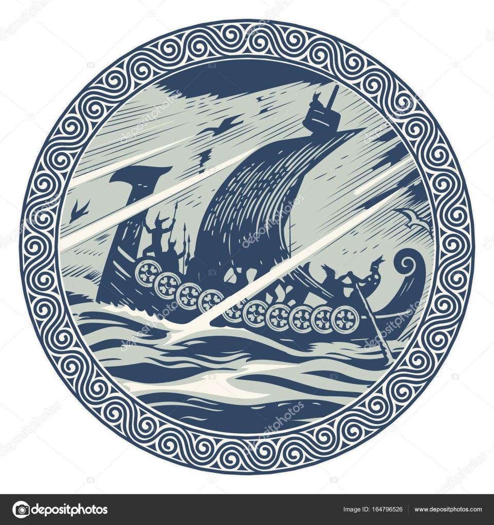 Diseño de Viking. Drakkar navegando en un mar tempestuoso. En el ...