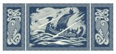 Photo Viking design. Drakkar sailing in a stormy sea. In the frame of the Scandinavian pattern