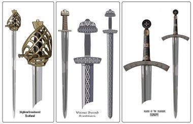 Ancient Europe weapon - set of swords. Viking's sword, sword knights crusaders, broadsword of the highlanders of Scotland.