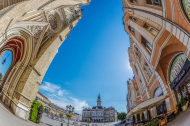 View of the main square in Novi Sad, Serbia