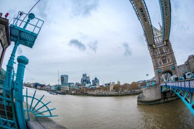 Fish Eye view with London architecture from Tower Bridge