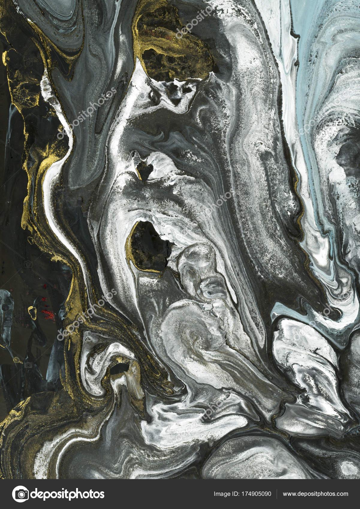 Svart Och Bla Marmor Abstrakt Handmalade Bakgrund