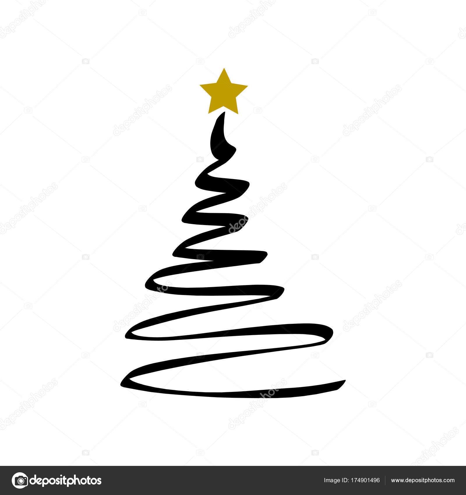 Albero Di Natale Nero E Oro.Nero Albero Di Natale E Stella D Oro Vettoriali Stock C Artlu