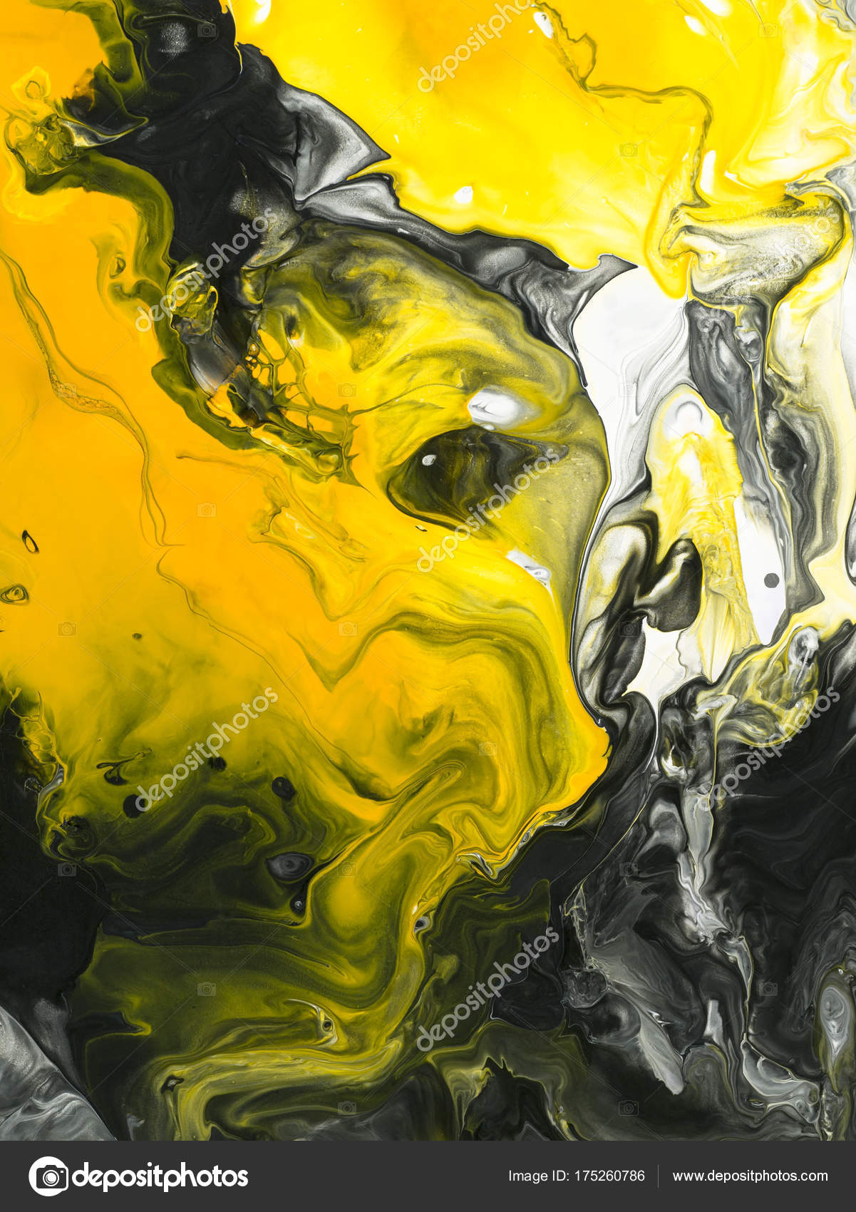Black and yellow marble abstract hand painted background ...
