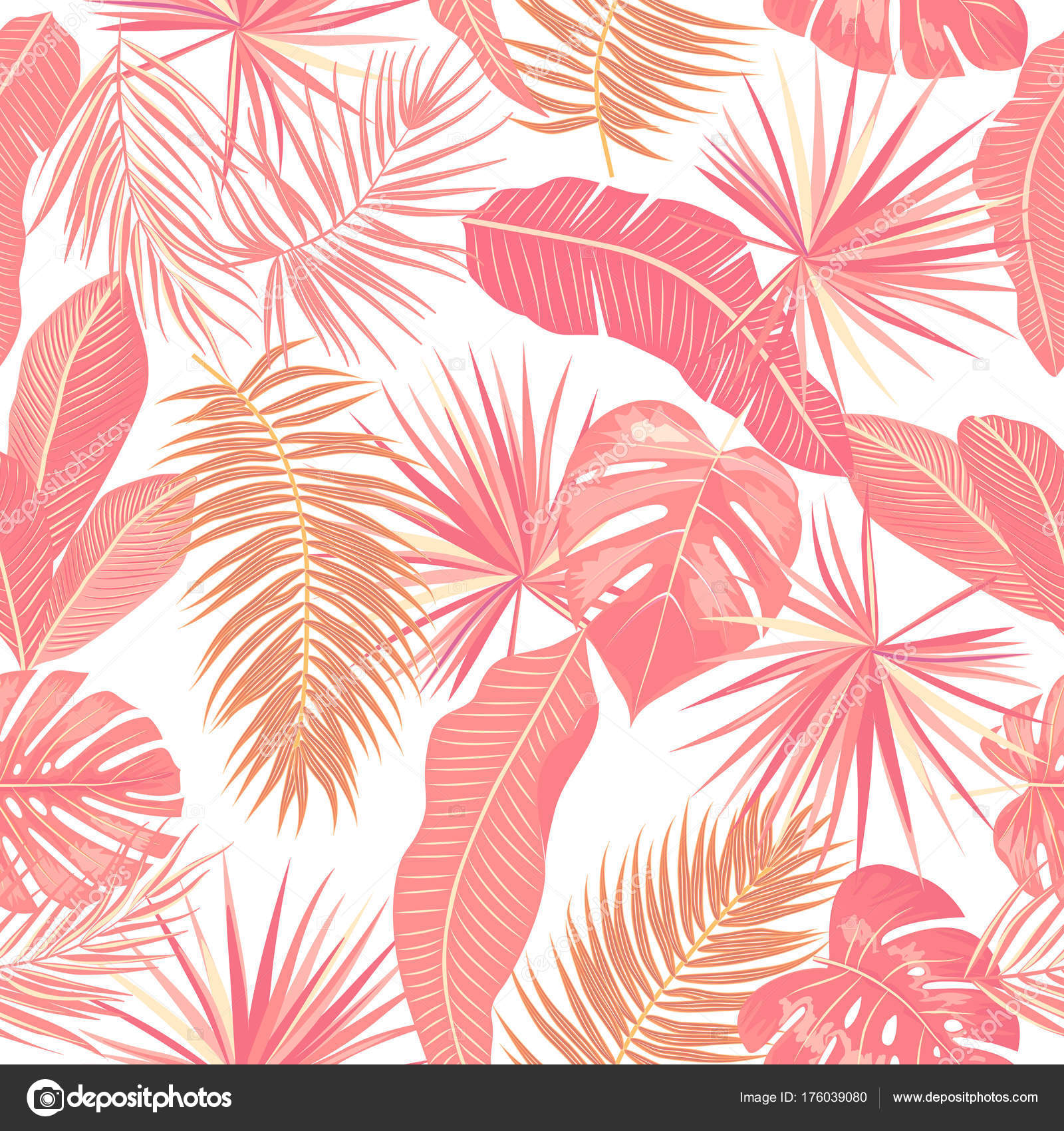 Seamless Pattern Of Tropical Leaves Palm Tree Stock Vector