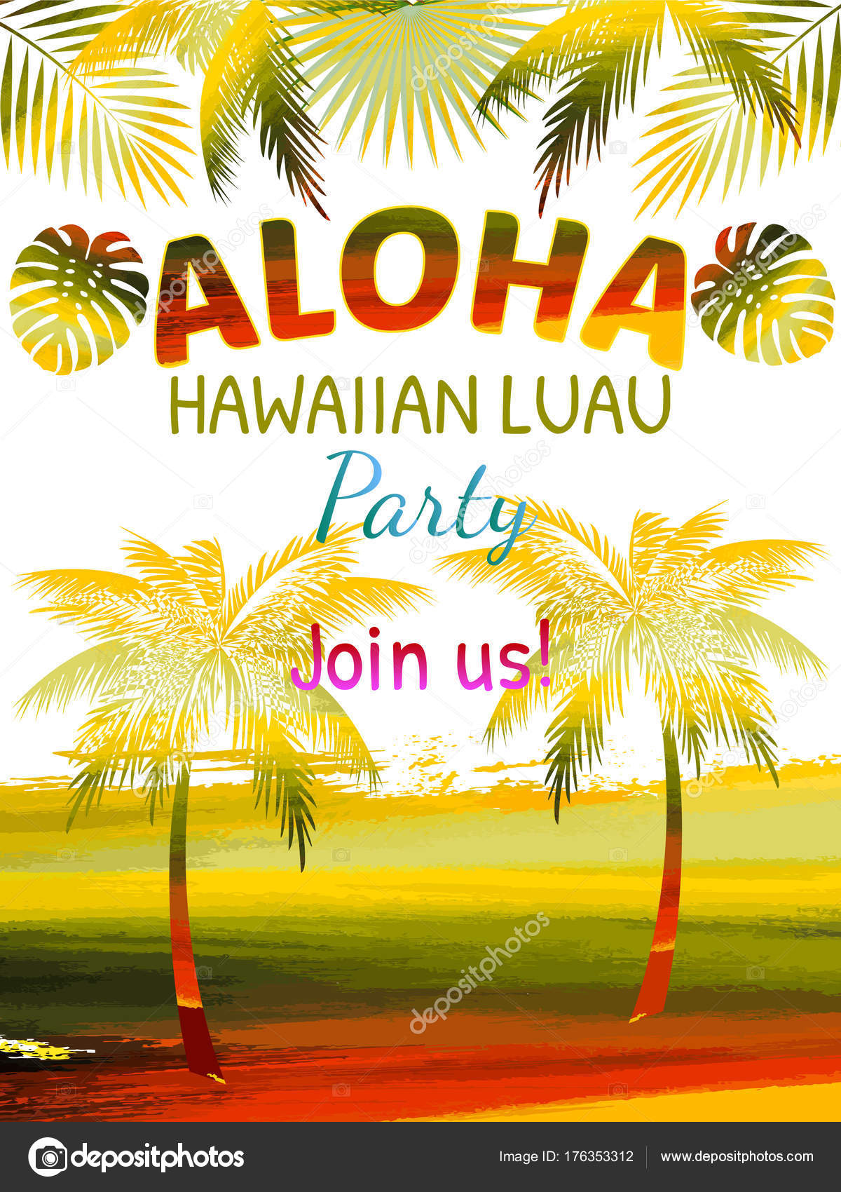 Blank Luau Party Invitations