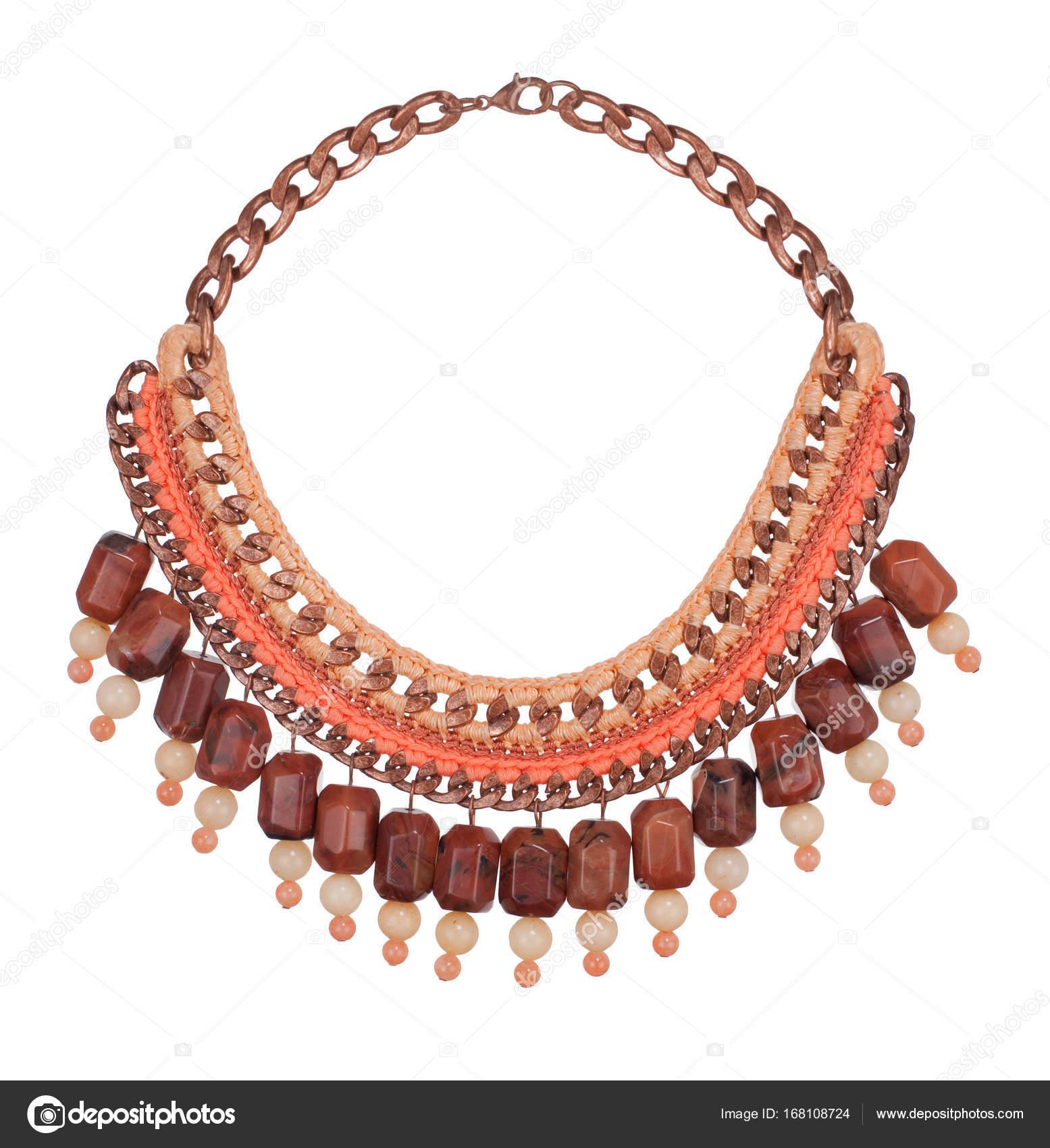Schöne luxuriöse weibliche orange braun massive Halskette isoliert ...