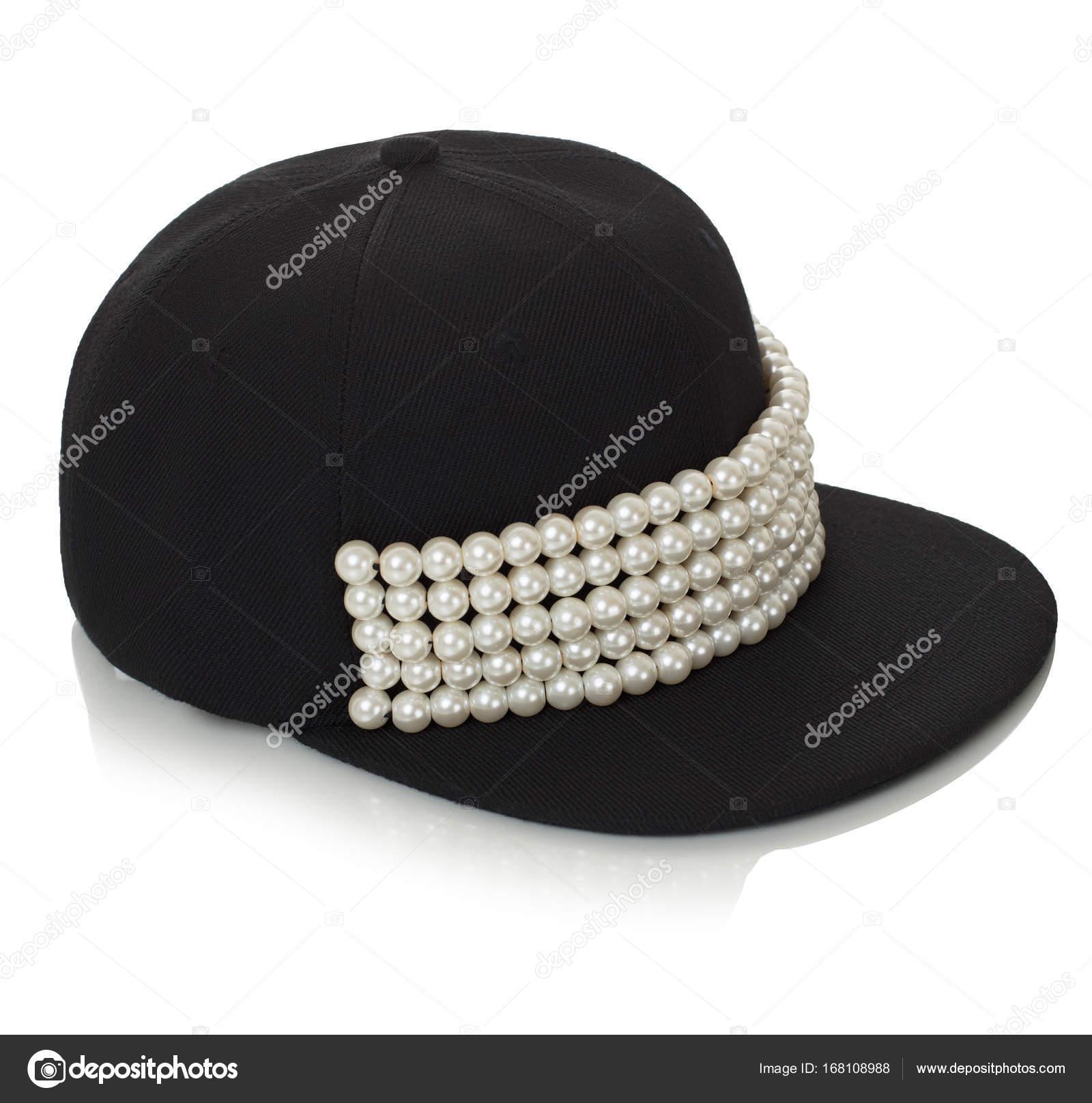 7d8252e85e2f3 Boné de beisebol feminino preto com pérolas de decoração brilhante ...
