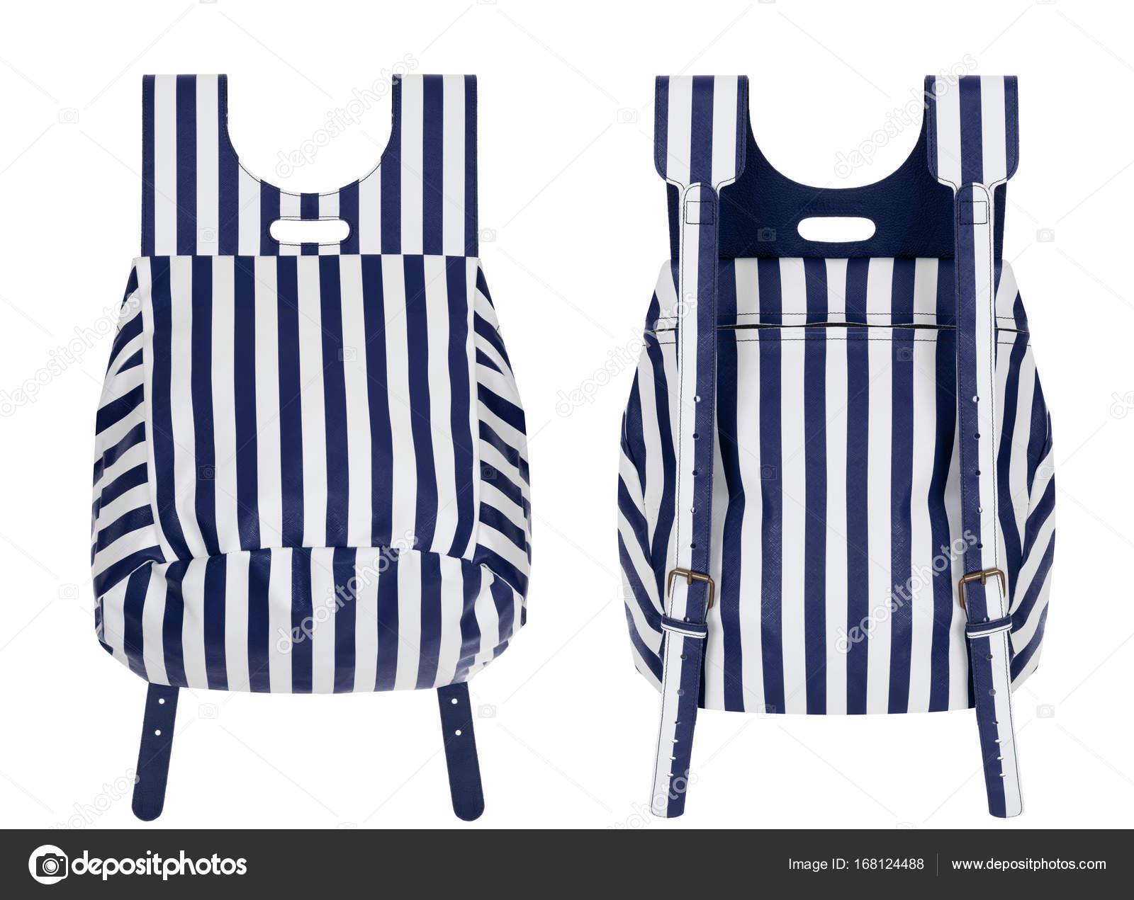 bc1b8fcc4 Listras azul e branca de luxo lindo couro linda mochila em um fundo branco