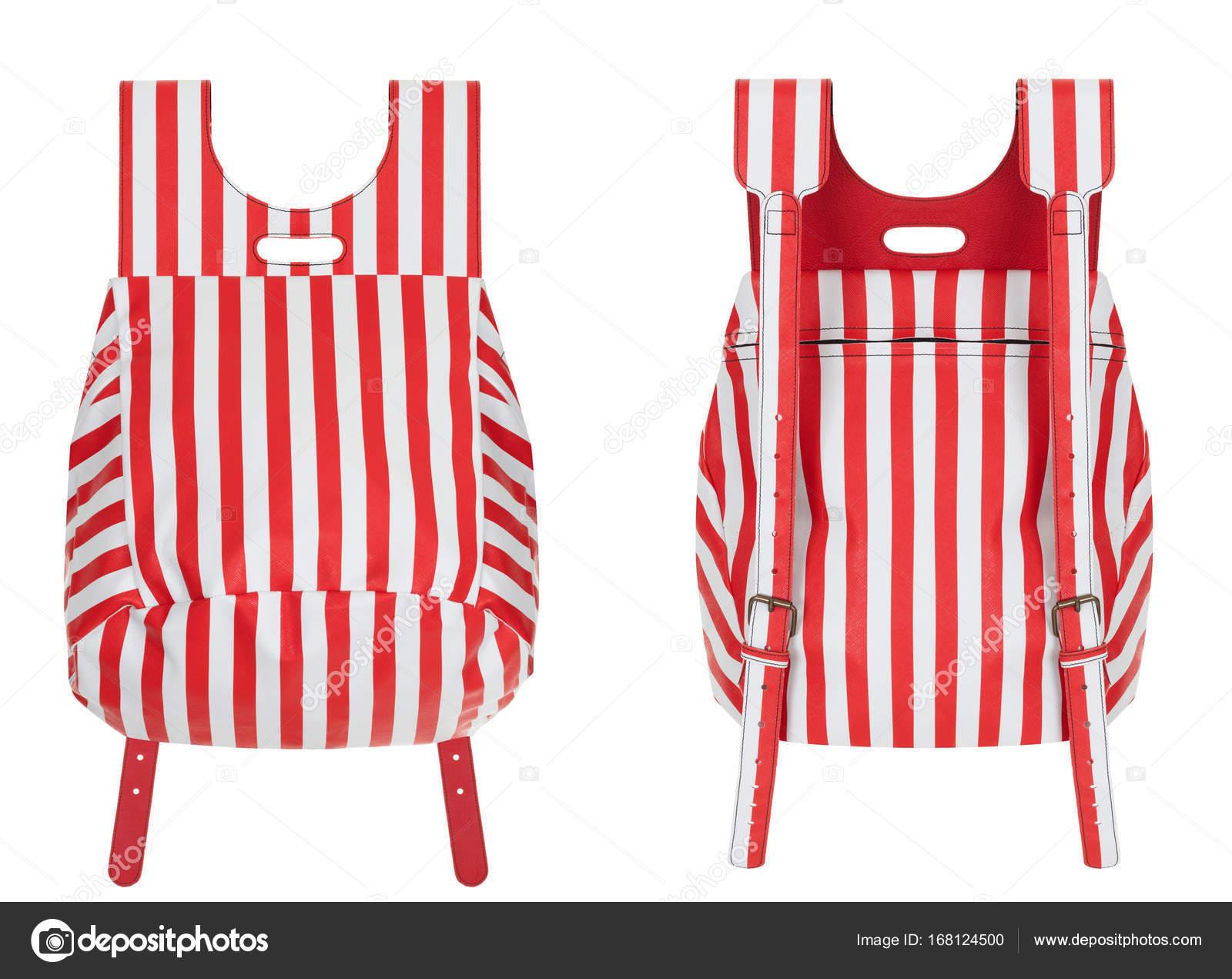 30d1b22acd Υπέροχη πολυτέλεια κόκκινες και άσπρες ρίγες πανέμορφη δερμάτινη τσάντα σε  λευκό φόντο