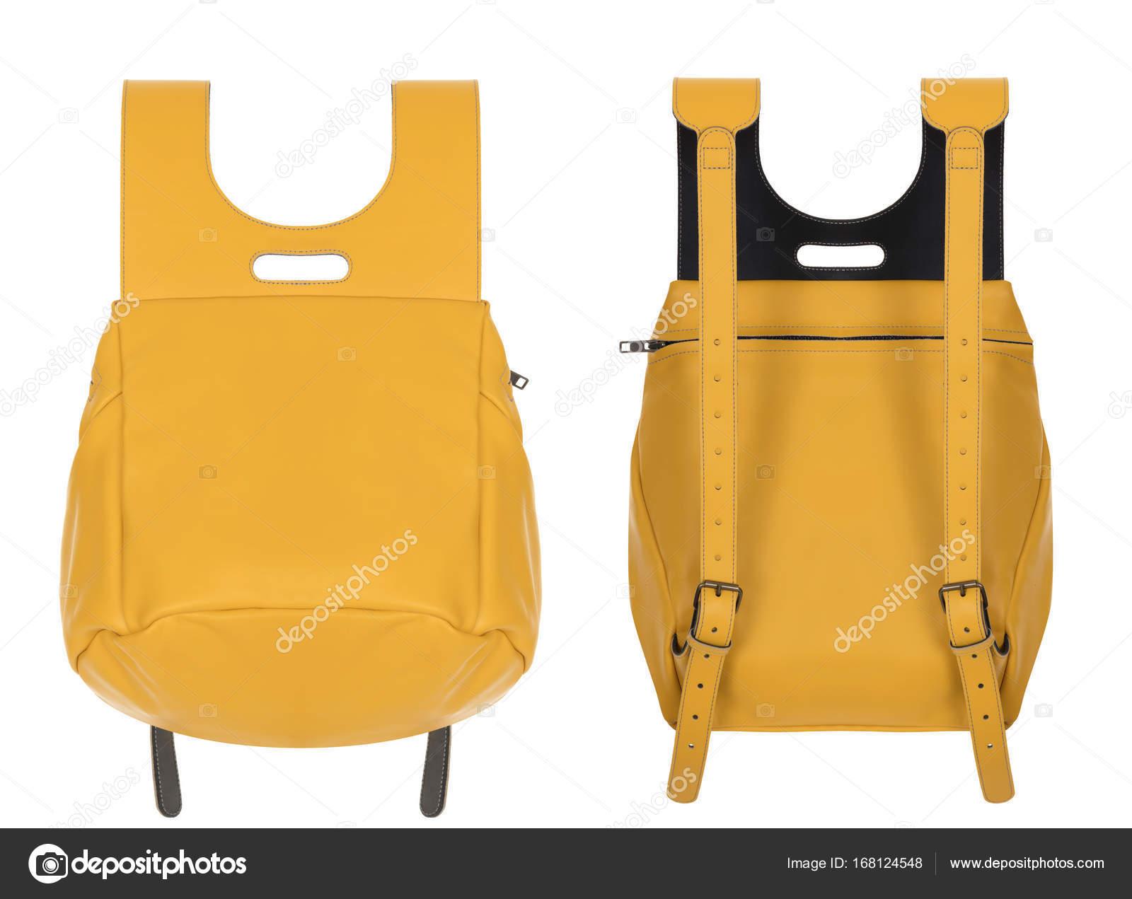a72b9841b Mochila de couro lindo amarelo luxo lindo sobre um fundo branco ...