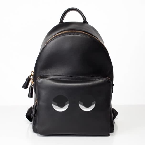 Luxusní módní Dámská kožený batoh s očima, které se pohybují