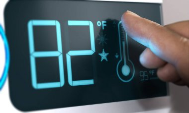 Digital Thermostat Temperature Controller Set at 82 Degrees Fahr