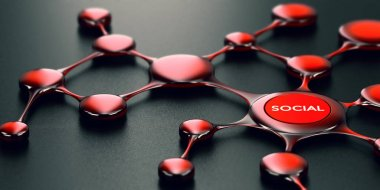 3D illustration of social network over black background, modern design stock vector