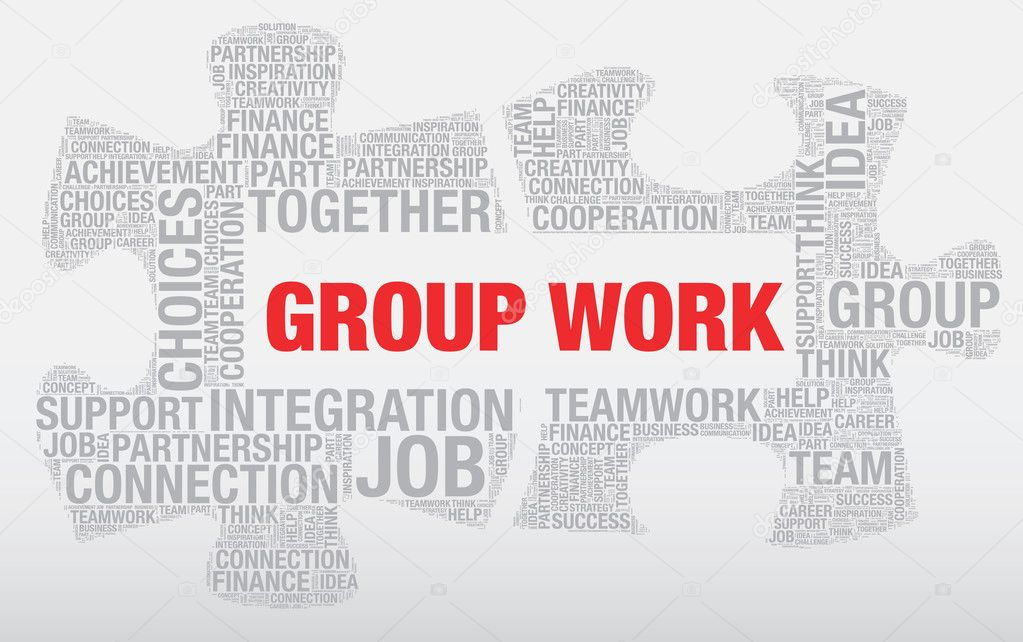 group work word cloud concept made of puzzle pieces vector stock