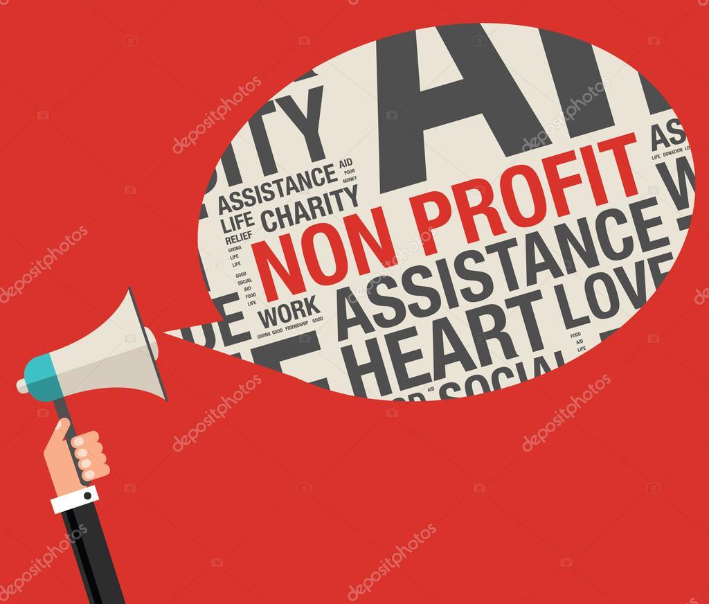 Sin ánimo de lucro en nube de word de caridad ayudar a ilustración ...