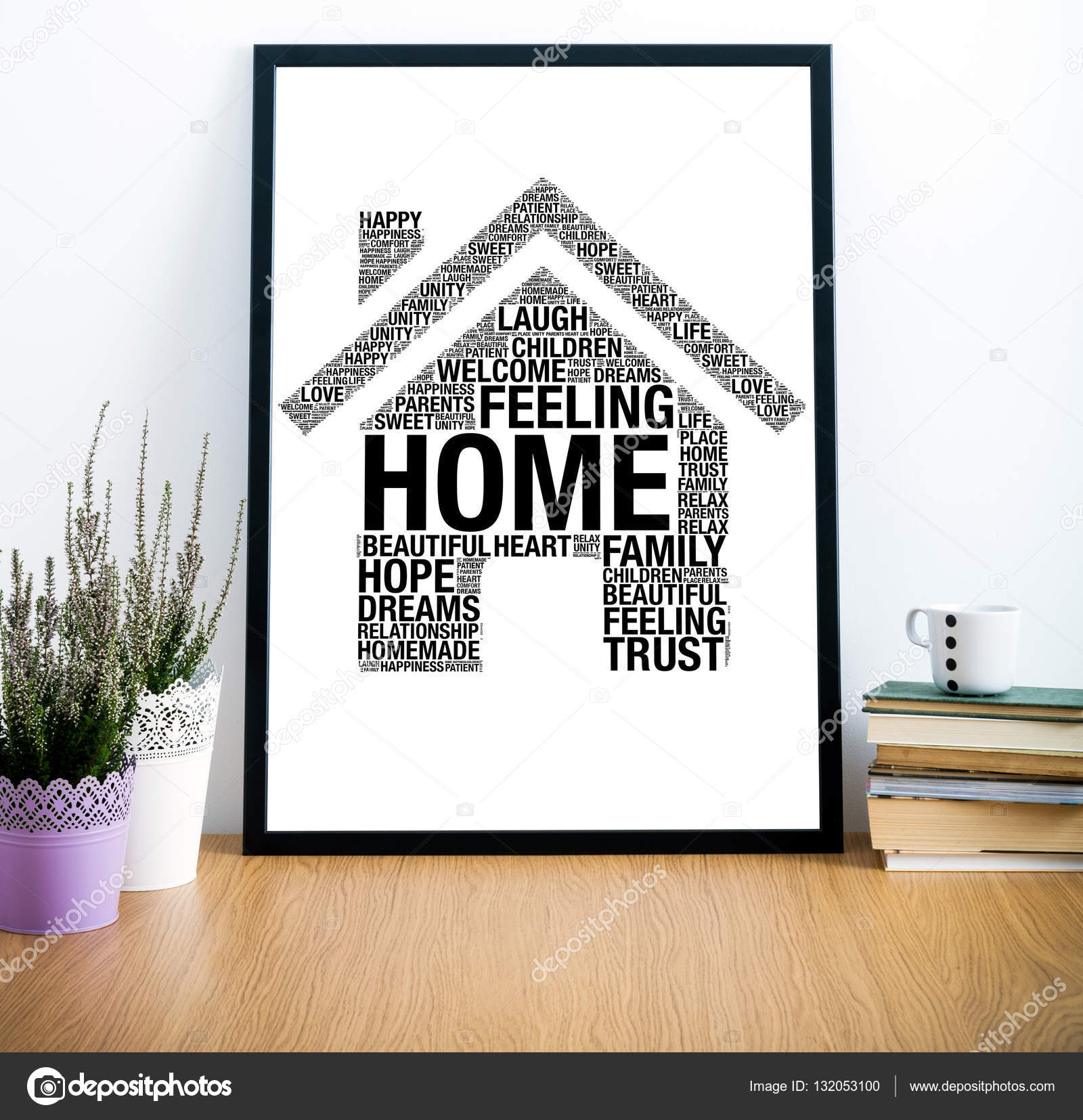 Frame on desk with home word cloud sign — Stock Photo