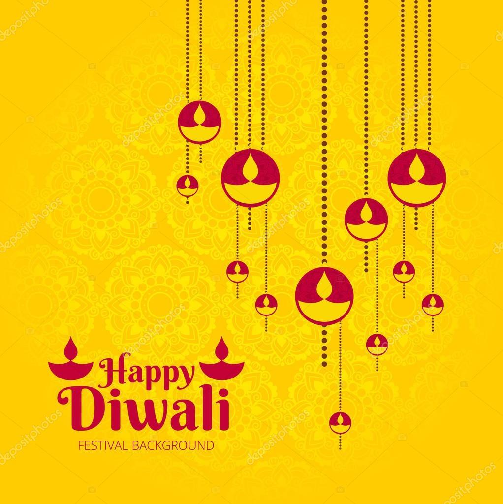 Modern diwali design with three candles
