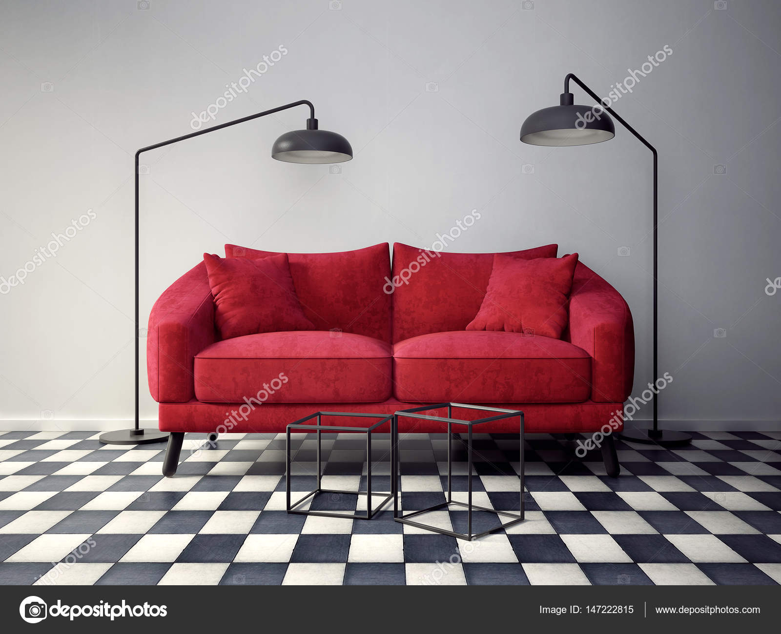 modernes Zimmer mit roten sofa — Stockfoto © alexroz #147222815