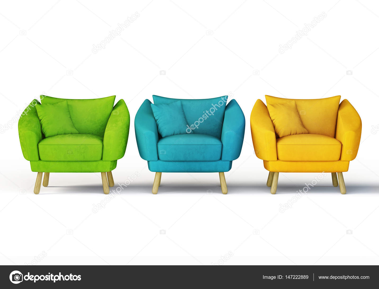Colorful Armchairs On Whiteu2013 Stock Image