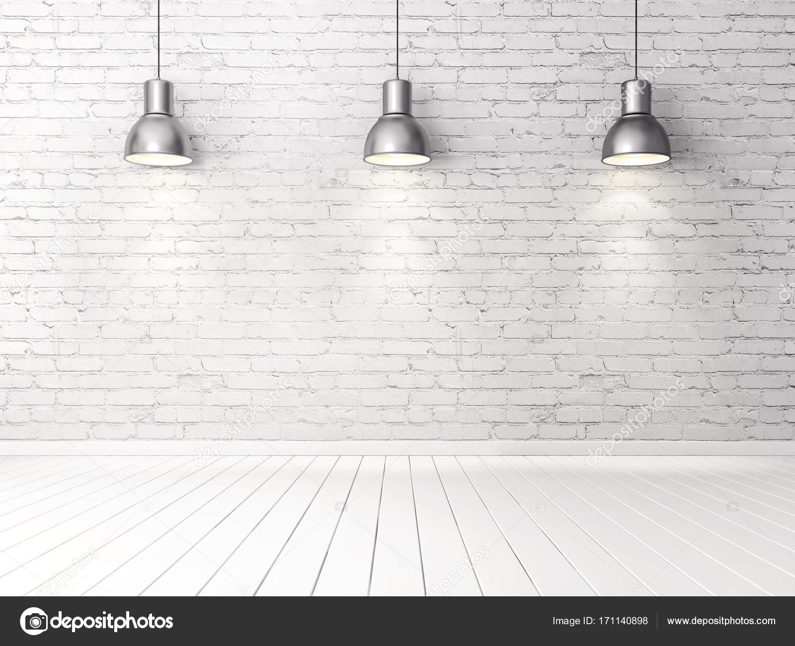White Brick Wall And Lamps Stock Photo Image By Alexroz 171140898