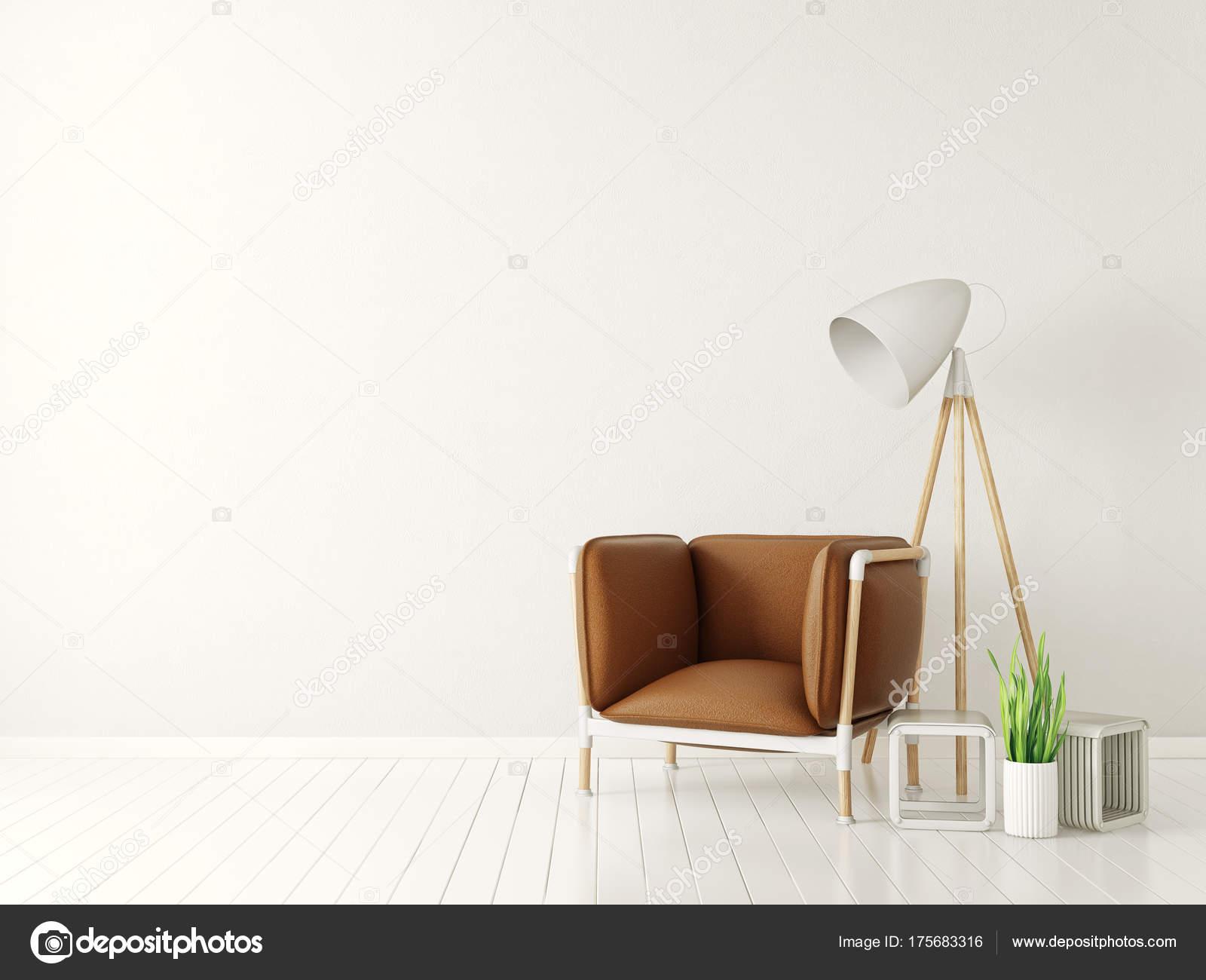Moderne Weiße Wohnzimmer Mit Braunen Sessel Und Lampe Skandinavische ...