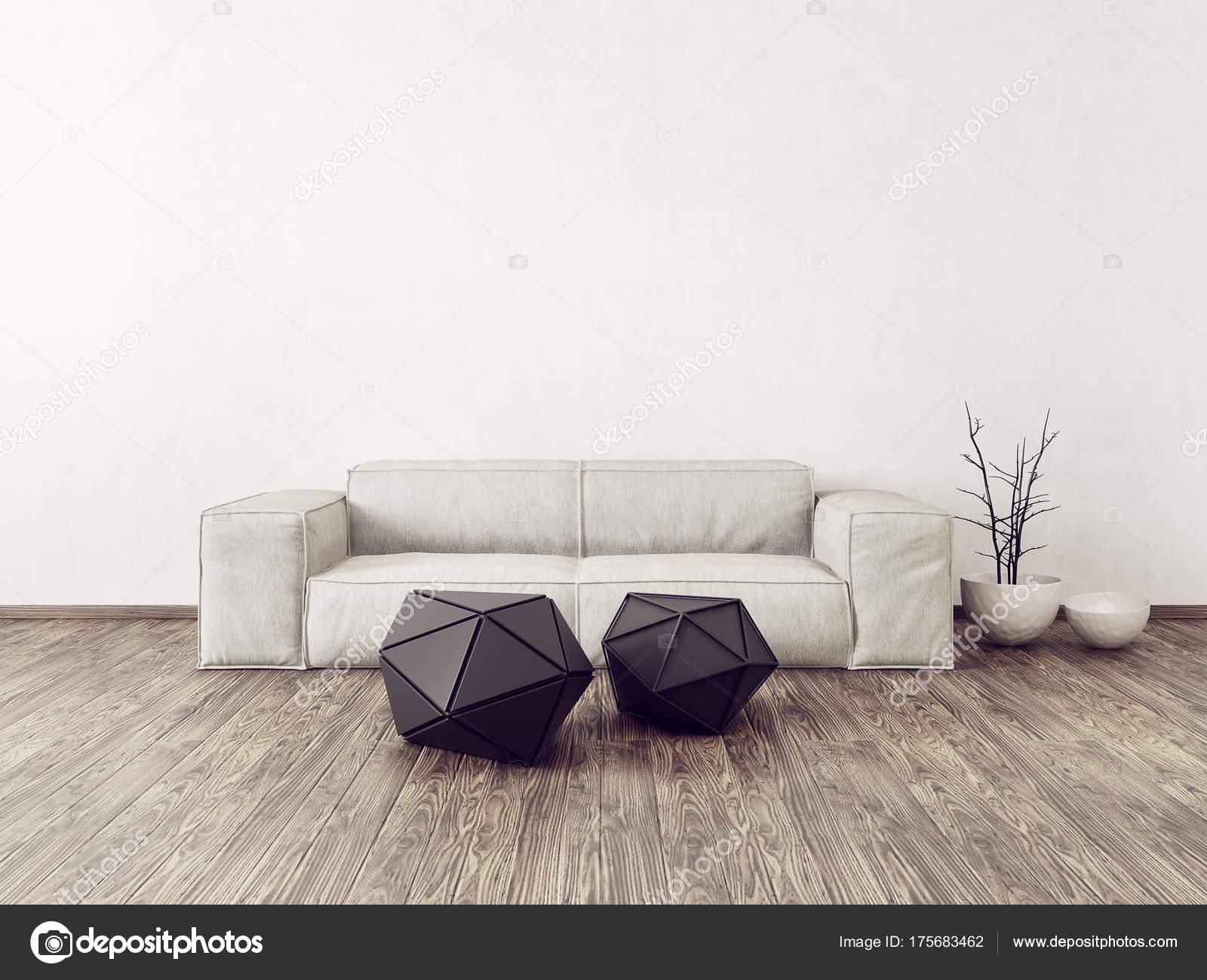 Modernes Wohnzimmer Mit Weißen Sofa Skandinavische Innenarchitektur Möbel  Render Illustration U2014 Stockfoto