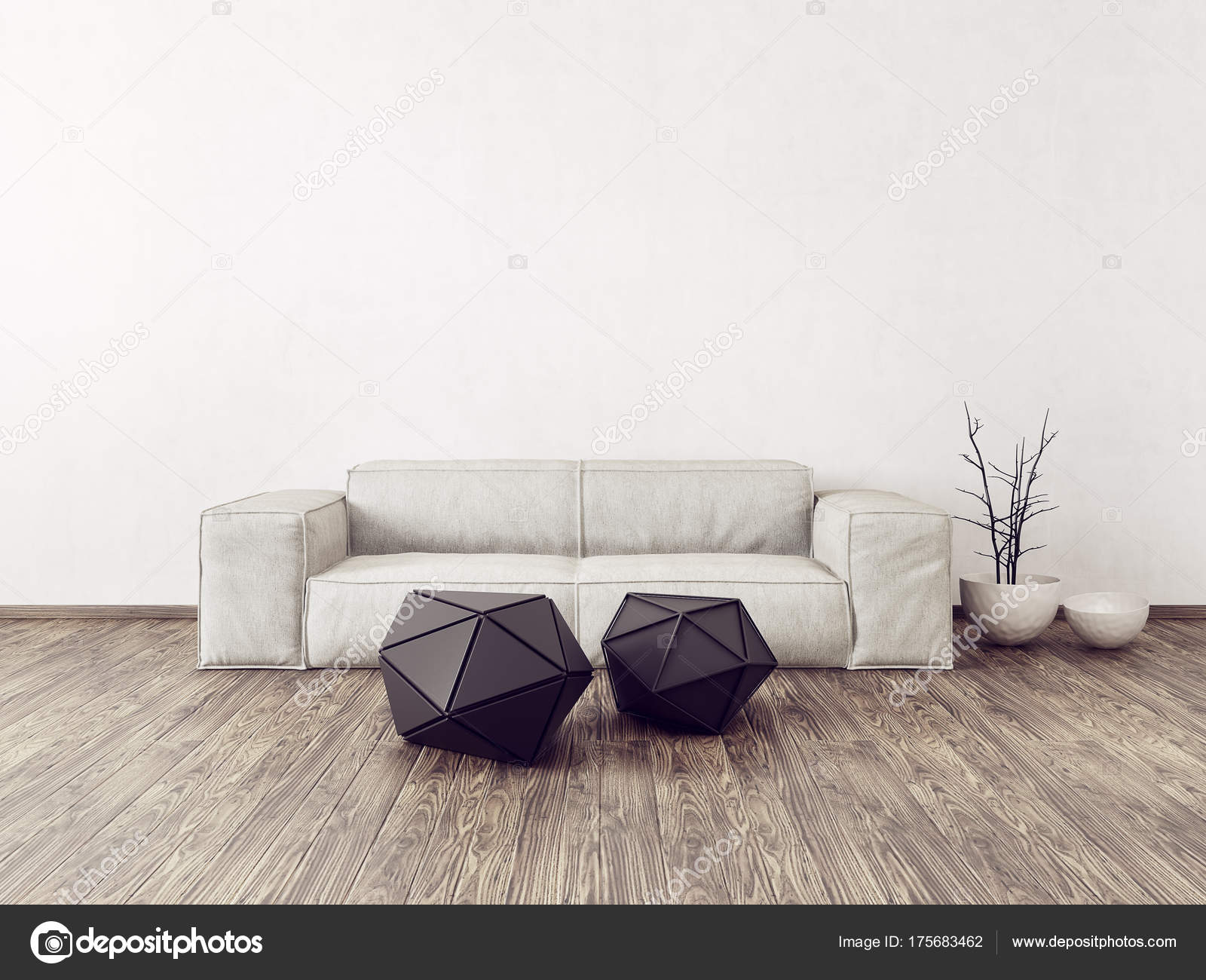 Scandinavisch Design Meubelen : Moderne woonkamer met witte bank scandinavisch interieur design