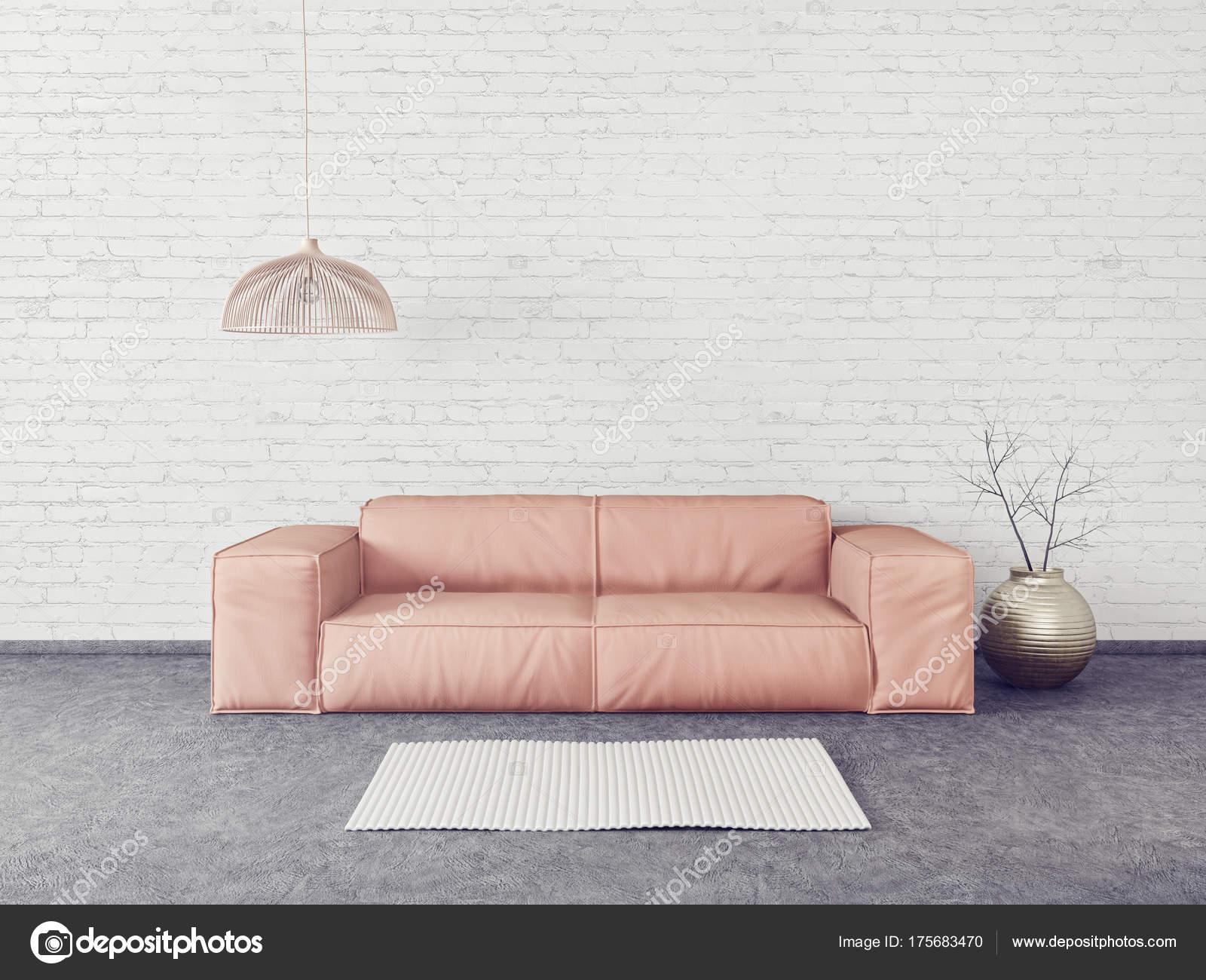 Salon Moderne Avec Canapé Rose Et Lampe. Meubles Design Intérieur Scandinave.  Illustration De Rendu 3D U2014 Image De ...